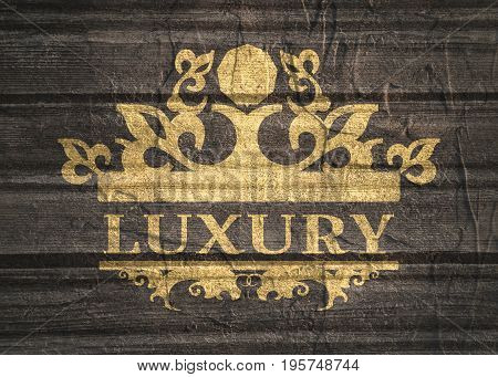 Emblem template with crown. Sign for Restaurant, Jewelry Boutique, Hotel and Heraldic. Grunge texture effect