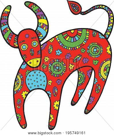 Art with cartoon cow. Farm animal doodle vector illustration for kids and adult coloring book. Antistress zendoodle graphic art.