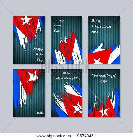 Cuba Patriotic Cards For National Day. Expressive Brush Stroke In National Flag Colors On Dark Strip