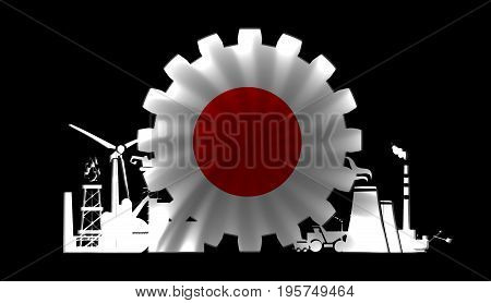 Energy and Power icons set with flag of the Japan. Sustainable energy generation and heavy industry. 3D rendering.