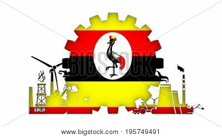 Energy and Power icons set with flag of the Uganda. Sustainable energy generation and heavy industry. 3D rendering.