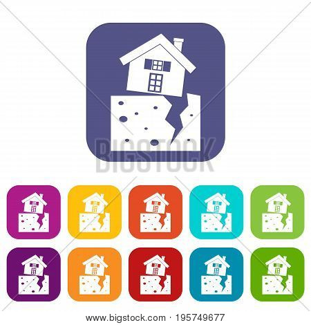 House after an earthquake icons set vector illustration in flat style In colors red, blue, green and other
