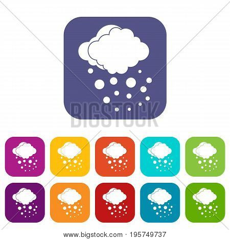 Cloud with hail icons set vector illustration in flat style In colors red, blue, green and other