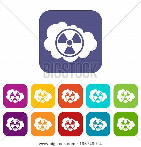 Cloud and radioactive sign icons set vector illustration in flat style In colors red, blue, green and other