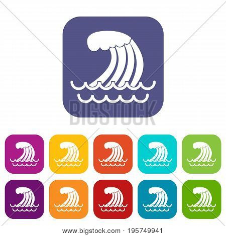 Tsunami wave icons set vector illustration in flat style In colors red, blue, green and other