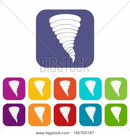 Tornado icons set vector illustration in flat style In colors red, blue, green and other