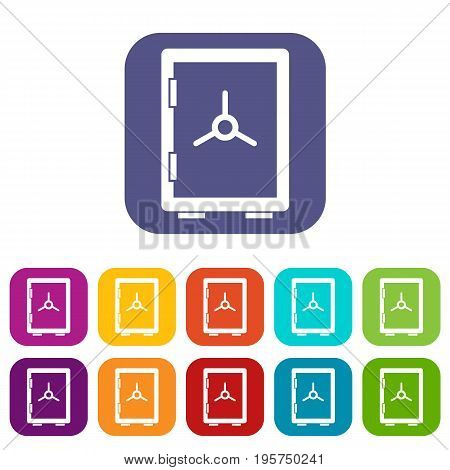 Closed safe icons set vector illustration in flat style In colors red, blue, green and other