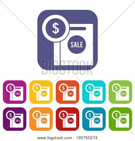 Dollar sign and shopping bag for sale icons set vector illustration in flat style In colors red, blue, green and other