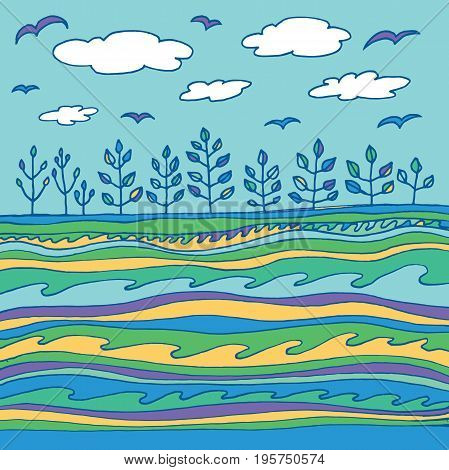 Summer sea and sky with clouds and birds. Vector graphic simple line art. Doodle sketch illustration.
