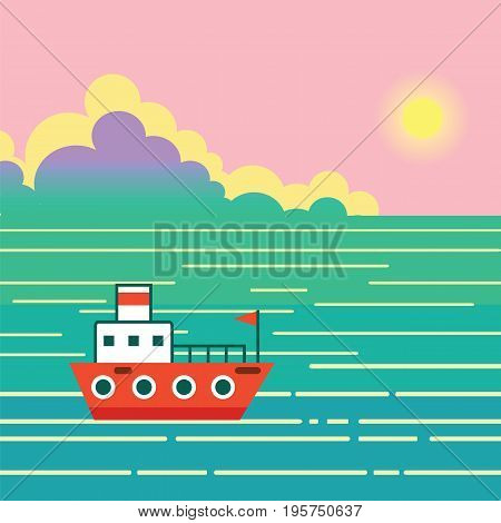Boat on water. Landscape with ship ocean sky sun exotic island and clouds. Vector flat illustration with nature and boating in tropical sea.