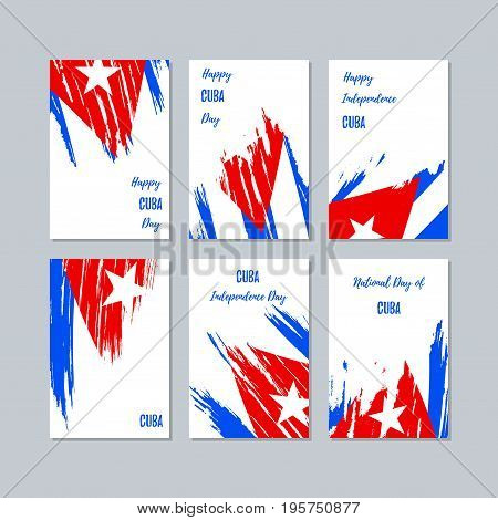Cuba Patriotic Cards For National Day. Expressive Brush Stroke In National Flag Colors On White Card