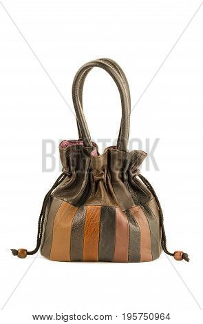 Women Leather Handbags Isolated On White Background, Studio Shot