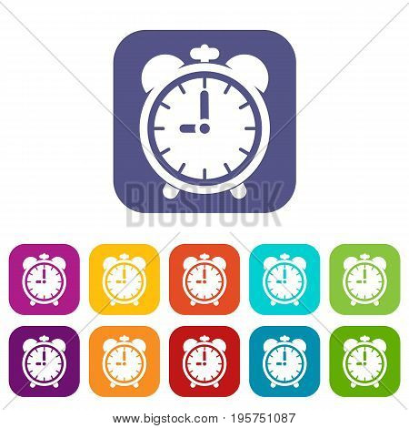 Alarm clock icons set vector illustration in flat style In colors red, blue, green and other