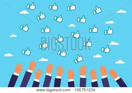 Business men catch by hands likes in the sky. Flat design, vector illustration.