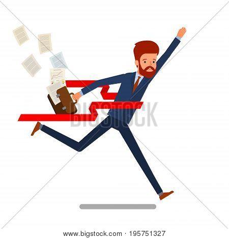 Concept of success. Businessman on a finishing line. Flat design, vector illustration.
