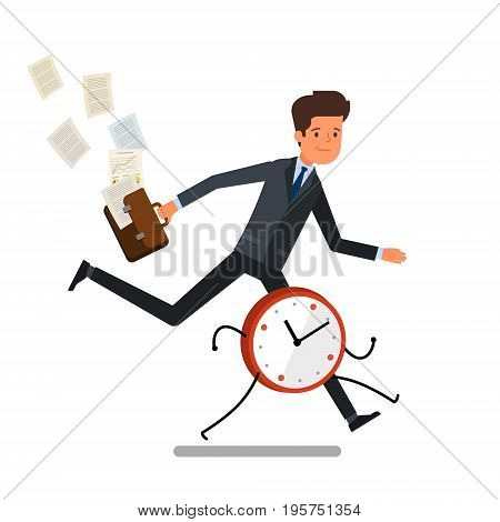Time management concept. Businessman running away from watches. Flat design, vector illustration.