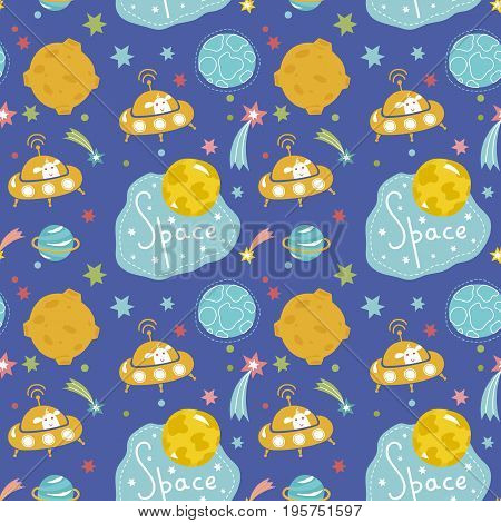Deep space cartoon seamless pattern. Flying saucer with funny alien, stars, comets, moon, planets, text vector illustration on blue background. For wrapping paper, greeting card, print on fabric