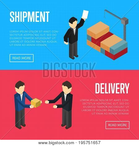 Delivery and shipment isometric isolated vector illustration. Cooperating delivery managers, cargo crane loading container. Freight delivery and distribution, logistics management, teamwork concept