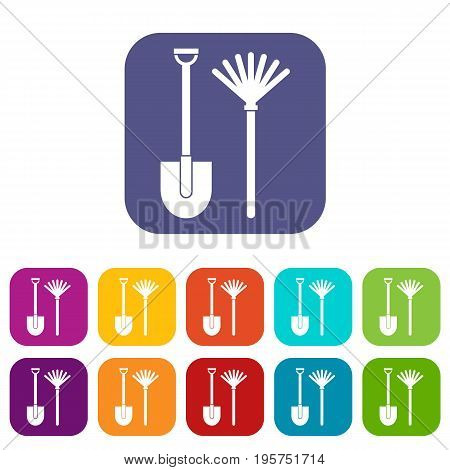 Rake and shovel icons set vector illustration in flat style In colors red, blue, green and other