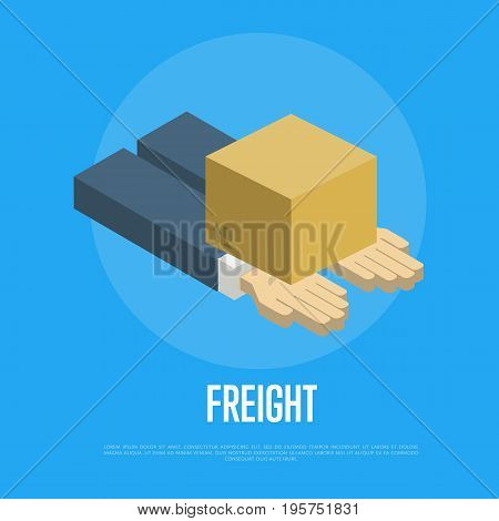 Freight delivery isometric concept vector illustration. Packing box on human hands icon. Freight shipping company, warehouse logistics, postal service and distribution, local delivery business