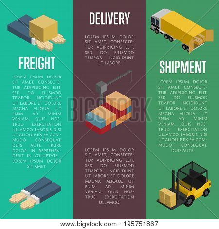 Freight delivery and shipment isometric banners vector illustration. Packing box on human hands, cargo crane, freight car, forklift truck icons. Warehouse logistics, postal service and distribution