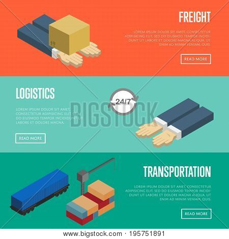 Freight logistics and transportation isometric banners vector illustration. Packing box on human hands, cargo crane loading train. Freight transportation, logistics, postal service and distribution
