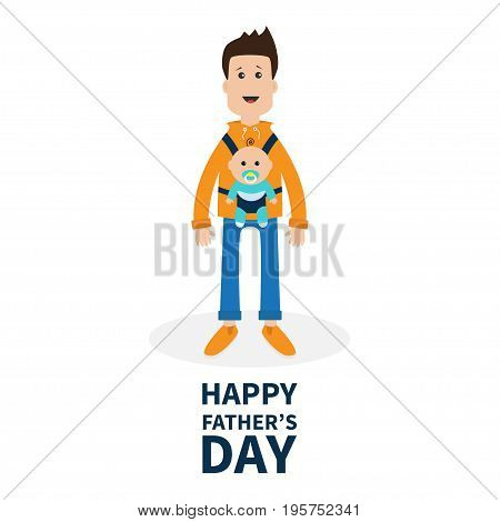 Happy fathers day. Funny cartoon guy Cute male character holding boy son in baby carrier sling. Parent take care of child. Surprise emotion. White background. Flat design Vector illustration