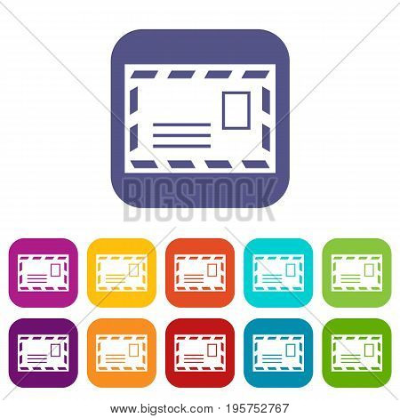 Postage envelope with stamp icons set vector illustration in flat style In colors red, blue, green and other