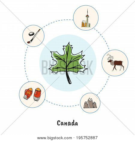 Attractive Canada. Maple leaf colorized doodle surrounded mountains, reindeer, Toronto, hockey stick hand drawn vector icons. Canadian architectural, sports, nature symbols. Travel in North America