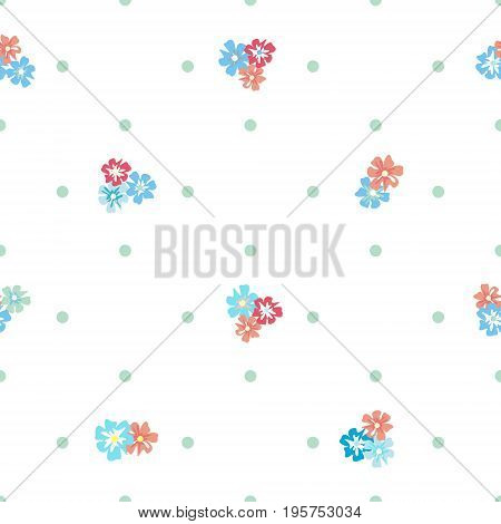Seamless vintage pattern with flowers and polka dots on a white background.  Country style millefleurs. Delicate airy texture for textiles, interiors, packaging, print, web design.