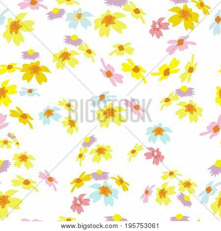 seamless pattern with colorful field flowers on a white background.  Delicate fashionable background for textiles, gift wrap, covers, print, and various designs. vector