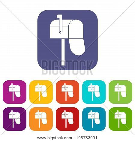 Open mailbox icons set vector illustration in flat style In colors red, blue, green and other