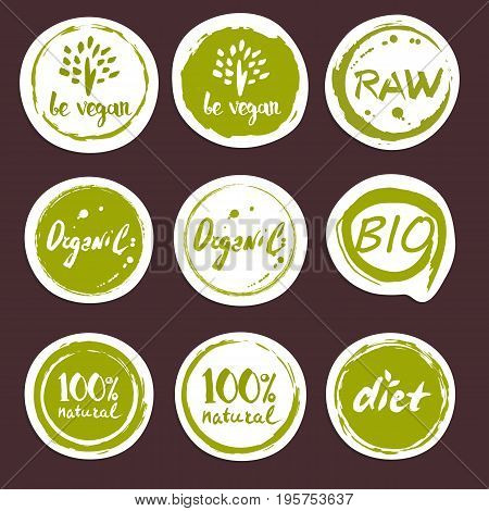 Organic food round hand drawn labels set vector illustration. Vegetarian, gmo free, fresh and natural, vegan, raw food, healthy lifestyle, farm market, organic products, bio and eco nutrition concept