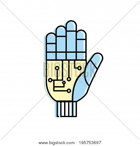hand with circuits and cyberspace interface connection vector illustration