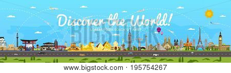 Discover the World poster with famous attractions vector illustration. Sphinx, Himeji Castle, Toronto TV tower, Torii gate, Egyptian pyramid, Old Town Square and other. Worldwide traveling concept