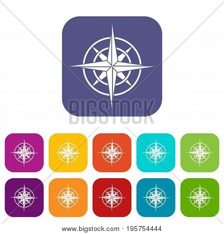 Ancient compass icons set vector illustration in flat style In colors red, blue, green and other