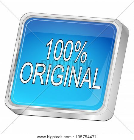 glossy blue 100% Original button - 3D illustration