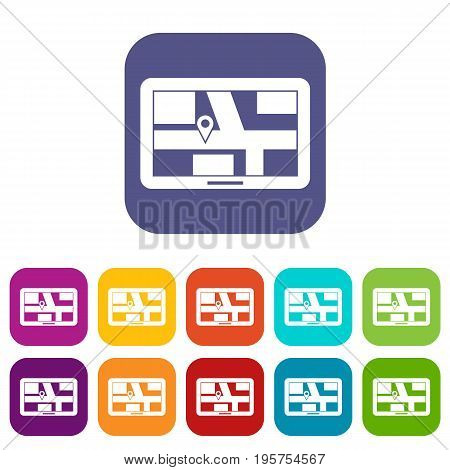 Navigation icons set vector illustration in flat style In colors red, blue, green and other
