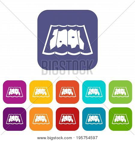 Map icons set vector illustration in flat style In colors red, blue, green and other