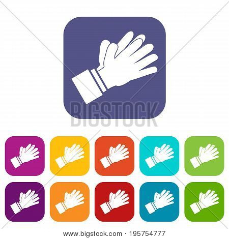 Clapping applauding hands icons set vector illustration in flat style In colors red, blue, green and other