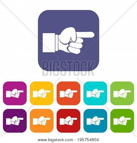 Pointing hand gesture icons set vector illustration in flat style In colors red, blue, green and other