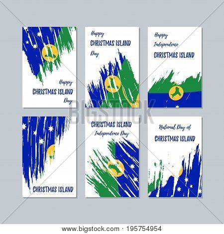 Christmas Island Patriotic Cards For National Day. Expressive Brush Stroke In National Flag Colors O