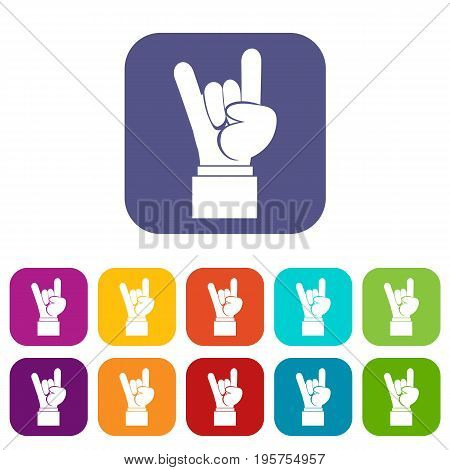 Rock and Roll hand sign icons set vector illustration in flat style In colors red, blue, green and other