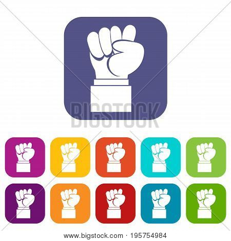 Raised up clenched male fist icons set vector illustration in flat style In colors red, blue, green and other