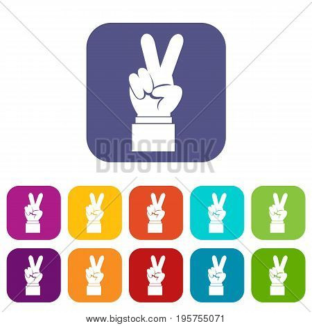 Hand with victory sign icons set vector illustration in flat style In colors red, blue, green and other