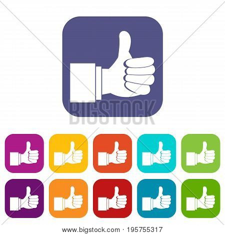 Thumb up gesture icons set vector illustration in flat style In colors red, blue, green and other