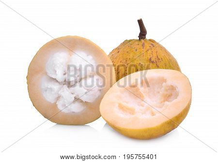 whole and half santol tropical fruit isolated on white background