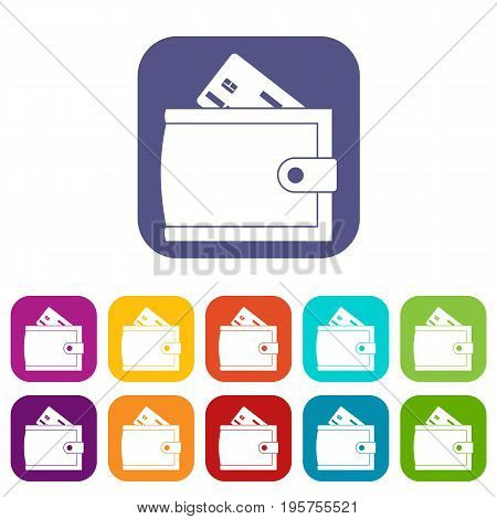 Wallet with credit card and cash icons set vector illustration in flat style In colors red, blue, green and other