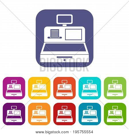 Cash register with cash drawer icons set vector illustration in flat style In colors red, blue, green and other