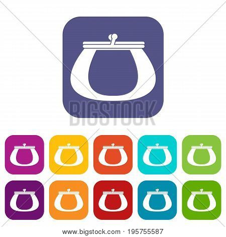 Retro purse icons set vector illustration in flat style In colors red, blue, green and other